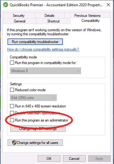 Running Quickbooks Software as an Administrator